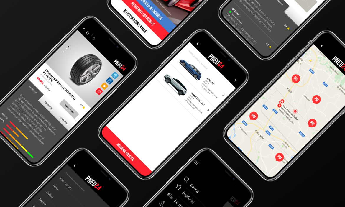 Brand identity, Applicativo Web e App iOS Pneu24 Blank Create 2018