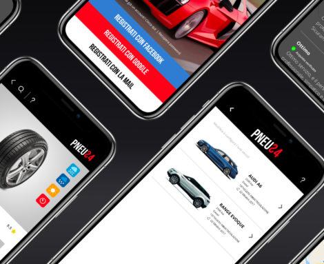 Brand identity, Applicativo Web e App iOS Pneu24 Blank Create 2018