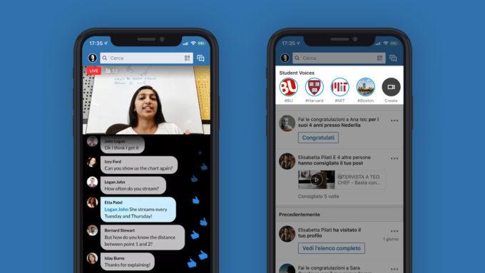 """College stories e Live videos: le """"nuove"""" features acchiappa-giovani di LinkedIn."""
